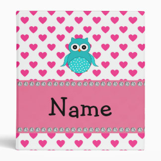 Personalized name cute owl 3 ring binder