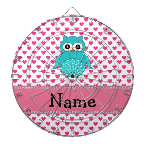 Personalized name cute owl dart boards