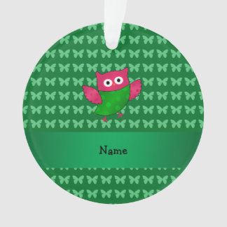 Personalized name cute owl green butterflies