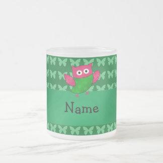 Personalized name cute owl green butterflies mug