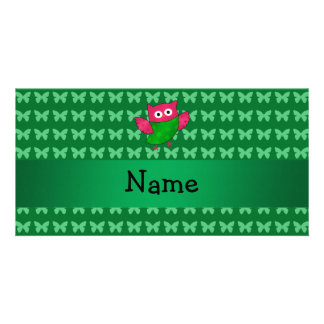 Personalized name cute owl green butterflies photo card template