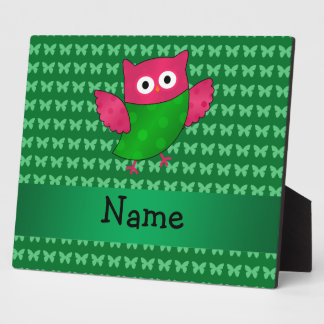 Personalized name cute owl green butterflies display plaque
