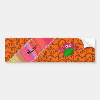 Personalized name cute owl orange swirls bumper stickers