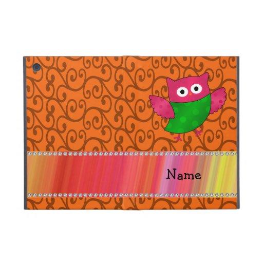 Personalized name cute owl orange swirls iPad mini cover