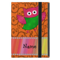 Personalized name cute owl orange swirls iPad mini covers