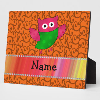 Personalized name cute owl orange swirls plaque