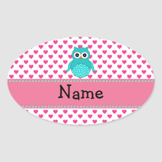 Personalized name cute owl oval sticker