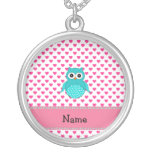 Personalized name cute owl pendant