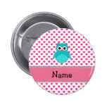 Personalized name cute owl pinback button