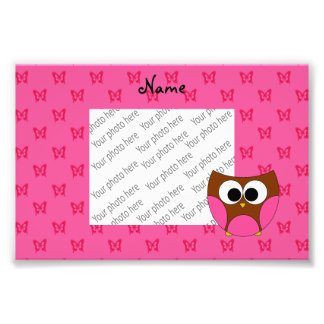 Personalized name cute owl pink butterflies photo