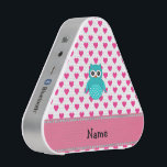 """Personalized name cute owl pink hearts bluetooth speaker<br><div class=""""desc"""">Cute owl gift ideas. Turquoise/teal/aqua owl with pink hearts pattern and pink diamonds stripe (not real diamonds) personalized with your name gifts or monogram gifts or your initials.</div>"""