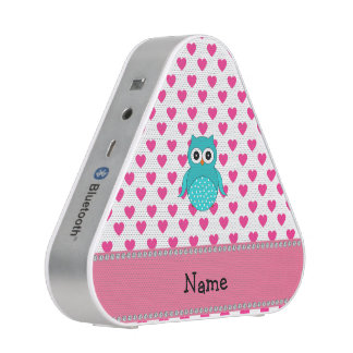 Personalized name cute owl pink hearts bluetooth speaker
