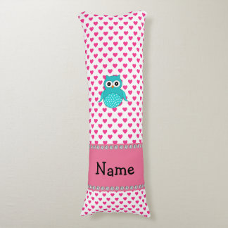 Personalized name cute owl pink hearts body pillow