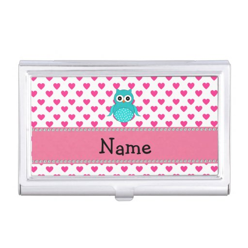 Personalized name cute owl pink hearts business card ...