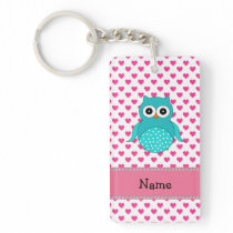 Personalized name cute owl pink hearts keychain