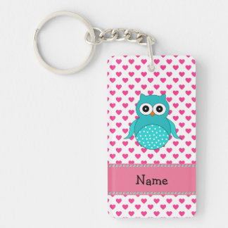 Personalized name cute owl pink hearts acrylic keychain