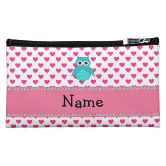 Personalized name cute owl pink hearts makeup bag