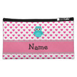 Personalized name cute owl pink hearts makeup bags