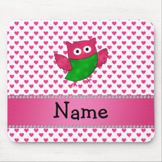 Personalized name cute owl pink hearts mouse pad