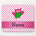 Personalized name cute owl pink hearts mousepads