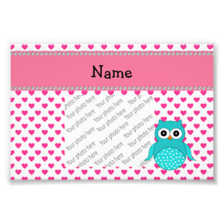 Personalized name cute owl pink hearts photo print