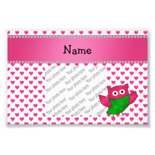 Personalized name cute owl pink hearts photographic print