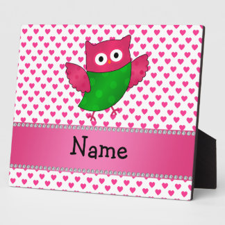 Personalized name cute owl pink hearts display plaque