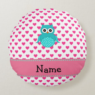Personalized name cute owl pink hearts round pillow