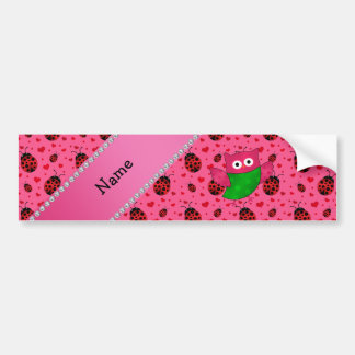 Personalized name cute owl pink ladybugs bumper sticker