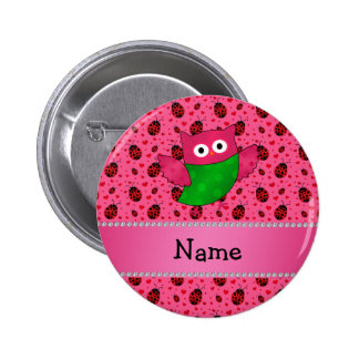 Personalized name cute owl pink ladybugs button