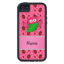 Personalized name cute owl pink ladybugs case for iPhone SE/5/5s