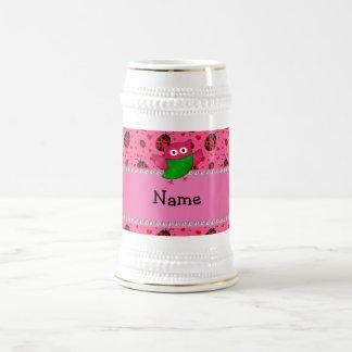 Personalized name cute owl pink ladybugs coffee mug
