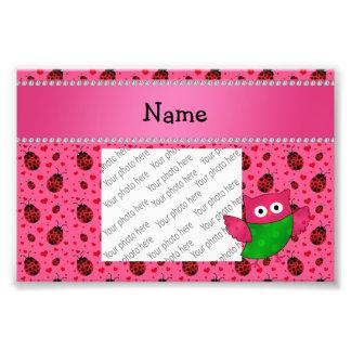 Personalized name cute owl pink ladybugs photo art