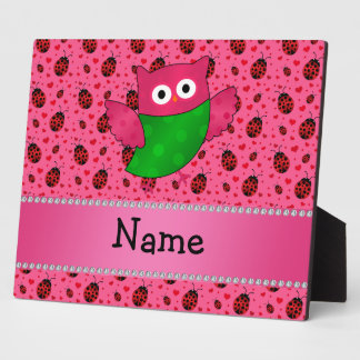 Personalized name cute owl pink ladybugs display plaque