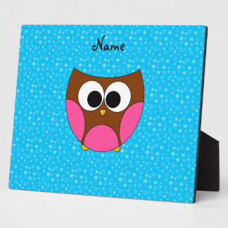 Personalized name cute owl display plaque