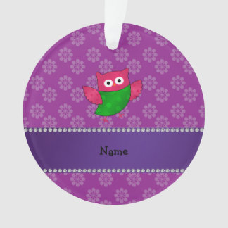 Personalized name cute owl purple flowers