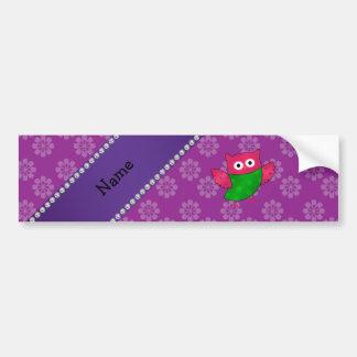 Personalized name cute owl purple flowers bumper sticker