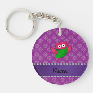 Personalized name cute owl purple flowers keychain
