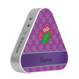 Personalized name cute owl purple flowers bluetooth speaker
