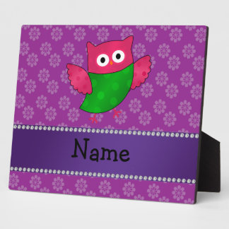 Personalized name cute owl purple flowers display plaques