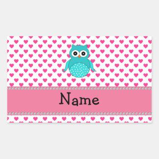 Personalized name cute owl rectangular sticker