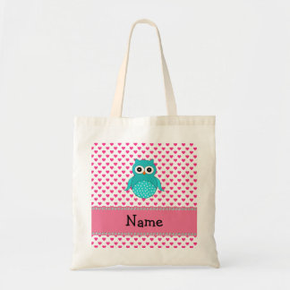 Personalized name cute owl tote bag