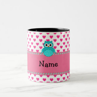 Personalized name cute owl Two-Tone coffee mug