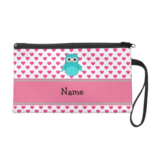 Personalized name cute owl wristlet clutches