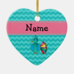 Personalized name cute peacock Double-Sided heart ceramic christmas ornament