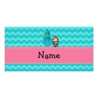 Personalized name cute peacock photo card