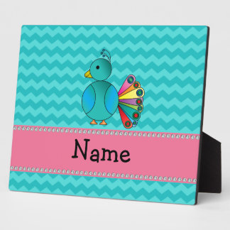 Personalized name cute peacock photo plaque
