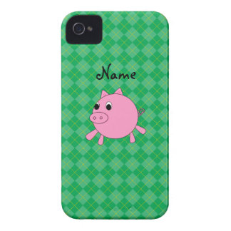 Personalized name cute pig green argyle iPhone 4 case