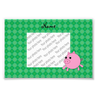 Personalized name cute pig green argyle photo print