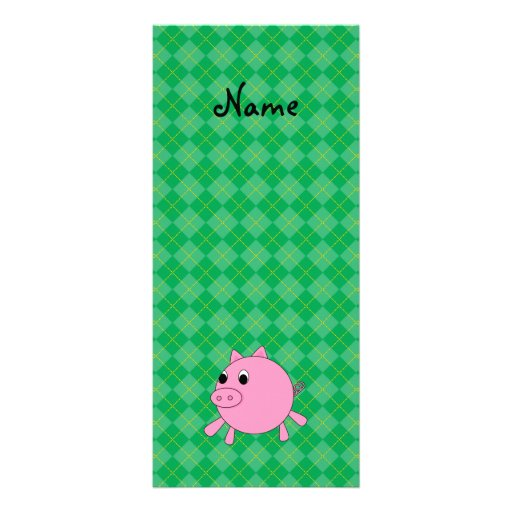 Personalized name cute pig green argyle rack card design